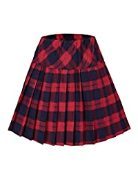 Urban CoCo Women's High Waist Pleated School Tartan Mini Plaid Skirts