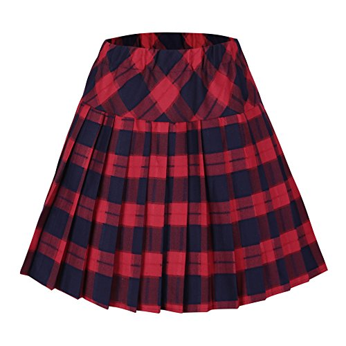 Women's Tartan Elastic Pleated Plaid Skirts Schoolgirls Mini A-line Skirt Cosplay Costumes (XL, 5 Red)]()