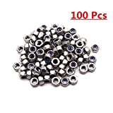 Sydien M6 x 1mm 304 Stainless Steel Nylon Lock Nut Finished Hex Assortment Kit Insert Lock nut 100pcs