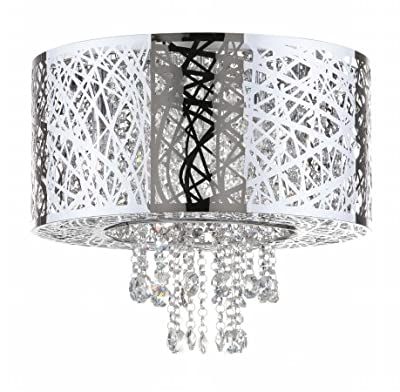 Safavieh Lighting Collection Mesh Flush Mount 15.75-inch Chrome