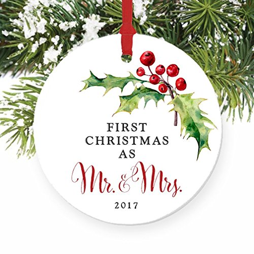 Mrs Holly (Holly Berry Mr & Mrs Ornament 2017, 1st Married Christmas Porcelain Ornament, Calligraphy First Married Christmas, 3