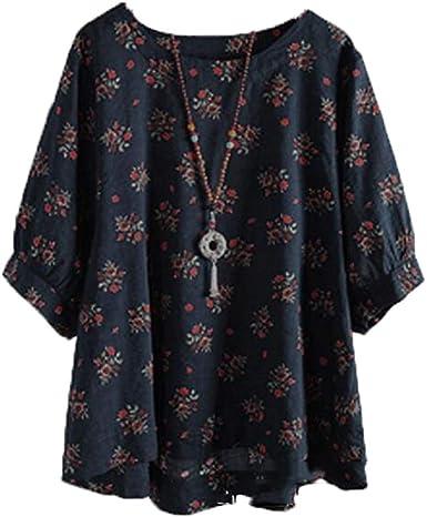 Blusa de Algodón Holgada y Cómoda para Mujer con Mangas de Flores Pequeñas y una Camiseta Grande: Amazon.es: Ropa y accesorios