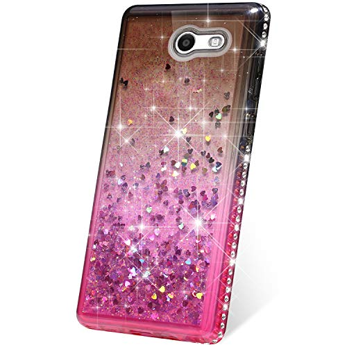 (PHEZEN Case for Samsung Galaxy J3 Emerge/J3 2017/J3 Prime/J3 Mission/J3 Eclipse/J3 Luna Pro/Amp Prime 2/Express Prime 2, Bling Glitter Flowing Liquid Floating Sparkle Soft TPU Clear Case - Black/Pink)