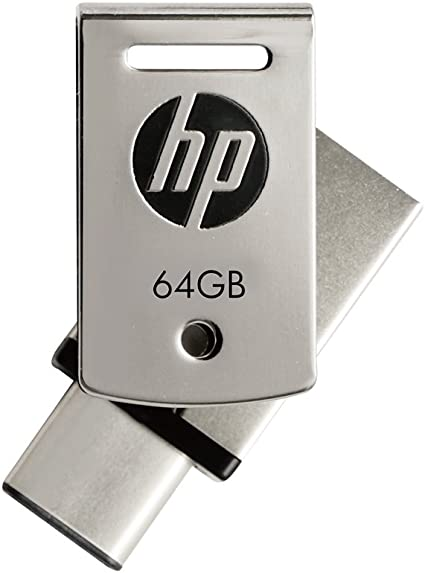 HP 64GB Type-C + A OTG USB 3.1 Metallic Swivel Flash Drive Pen Drives at amazon