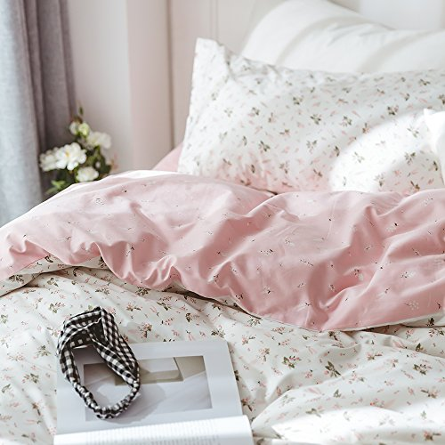 - VClife Floral Duvet Cover Sets Twin Girls Cotton Bedding Sets 3 Pieces Pink White Flower Garden Pattern Comforter Cover Sets - Wrinkle Resistant Bedding Collections for Kids Teen, Zipper Closure, Twin