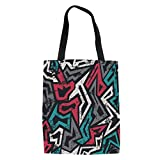 IPrint Grunge,Abstract Shapes in Graffiti Art Style Underground Hip Hop Culture Funky Street Wall,Multicolor Printed Women Shoulder Linen Tote Shopping Bag