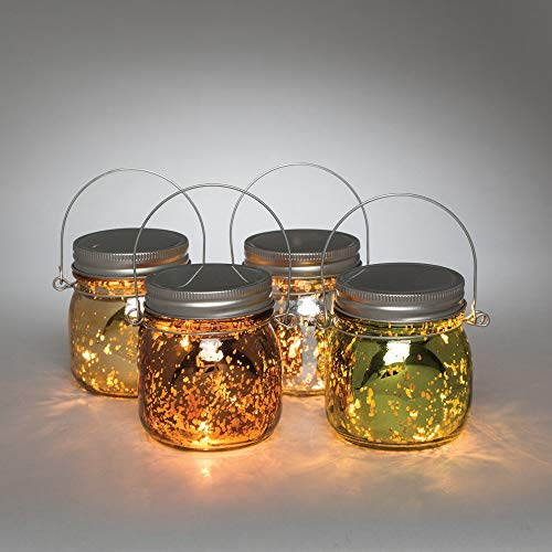 Diva At Home Set of 4 Multicolored Decorative Mercury Jars with 3 Way Switch 3.75