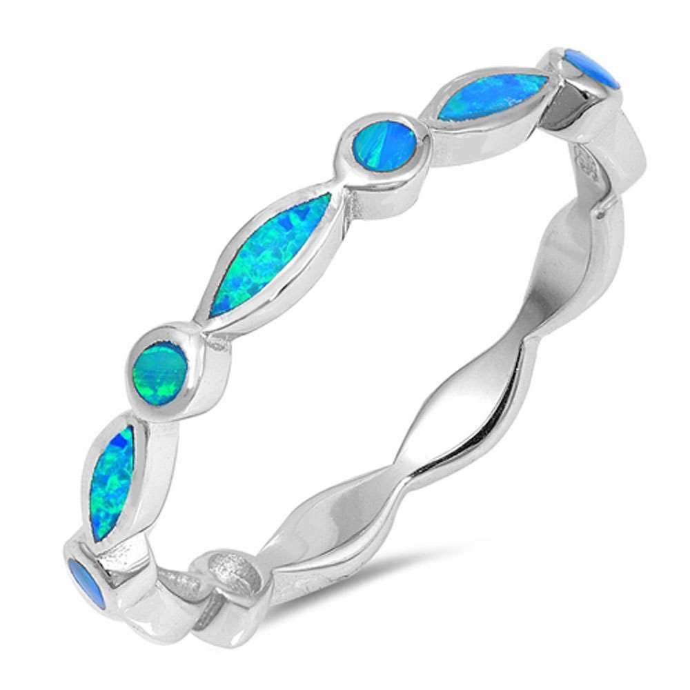 Sterling Silver White Lab Created Opal All Seeing Eyes Stackable Band Ring Sizes 6