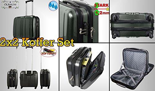4 pezzi SET bifamigliare, per 2 x nero + argento valigetta da viaggio, borsa da viaggio, PREMIUM valigetta da pilota-offerta supporto un'ampia, grande con 4 ruote, zaino, Trolli, per mano bagagli, stabile e manico telescopico e ruote