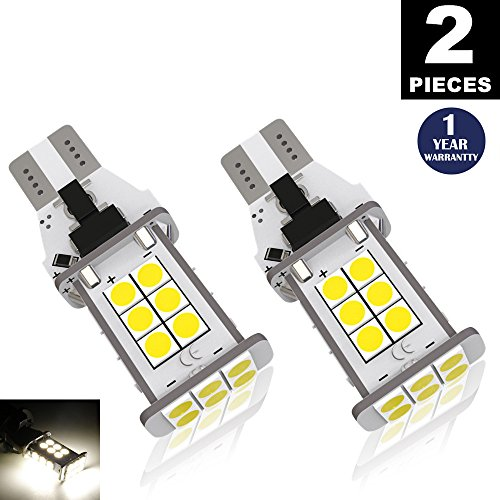 LUYED 2 X 1550 Lumens Extremely Bright Error Free 921 912 W16W 3030 24-EX Chipsets LED Bulbs Used For Backup Reverse Lights, Xenon White(Brightest backup light on the market) (Light Backup Series)