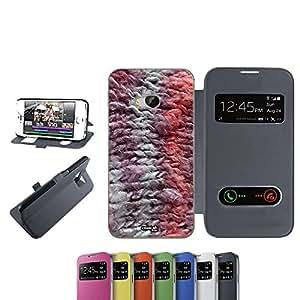 CASELABDESIGNS FLIP LIBRO CARCASA FUNDA FILI COPERTA PARA HTC ONE M9 NERO - FUNDA DE PROTECCIÓN PLEGABLE NEGRO