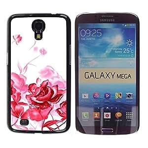 Be Good Phone Accessory // Dura Cáscara cubierta Protectora Caso Carcasa Funda de Protección para Samsung Galaxy Mega 6.3 I9200 SGH-i527 // Red Roses White Art Painting Simplistic