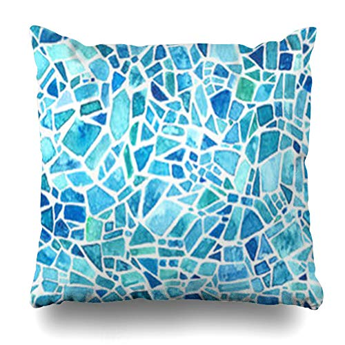 - GisRuRu Throw Pillow Covers Geometric Green Mosaic Blue Kaleidoscope Watercolor Pattern Leaded Stained Glass Effect Abstract Sea Home Decor Sofa Pillowcase Square Size 16 x 16 Inches Cushion Cases