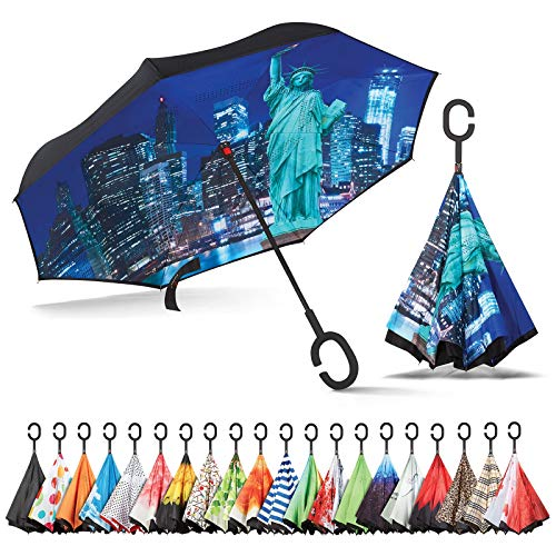 Sharpty Inverted Umbrella, Umbrella Windproof, Reverse Umbrella, Umbrellas for Women with UV Protection, Upside Down Umbrella with C-Shaped Handle (Statue of Liberty) (Best Phone Out Today)