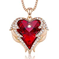 CDE Angel Wing Love Heart Necklaces for Women Silver Tone/Gold Tone Pendant Jewelry Gifts for Mother/Wife/Sister