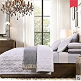 Auvoau Collection 3pc Luxury Bedspread Coverlet Embossed Bed Cover Solid White New Patchwork Quilt Set Full Queen King Size (Full, 3PC)