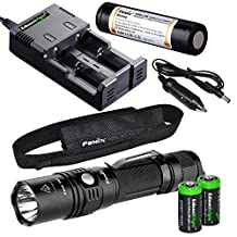 Fenix PD35 2015 TAC Edition 1000 Lumen CREE LED Tactical Flashlight with Genuine Fenix ARB-L2M 18650 Li-ion rechargeable battery, EdisonBright smart Charger and 2 X EdisonBright CR123A Lithium batteries bundle by EdisonBright