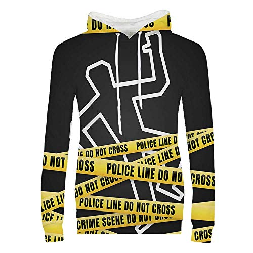 YOLIYANA Murder Scene Durable Hoodies,Chalk Outline of Victim and Yellow Bands Death Investigation Detective Decorative for Women,M
