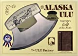 7'' Inupiat Style Cultured Ivory Handled Ulu with Walnut Stand (Etched Dog Sled Team)