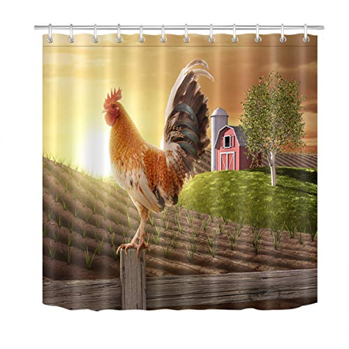 (LB Rustic Farmhouse Shower Curtain Set Chicken Cock Rooster Stand on Wood Stake in Farmland Sunrise Bathroom Decor 72x72 inch Waterproof Polyester Fabric Bathtub Curtain with Hooks )