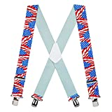 Suspender Store Mens Flag Suspenders - AMERICAN, Construction Clip