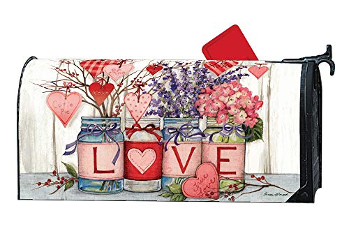 MailWraps Studio M Filled with Love Decorative Spring Valentine's Day, The Original Magnetic Mailbox Cover, Made in USA, Superior Weather Durability, Standard Size fits 6.5W x 19L Inch Mailbox ()