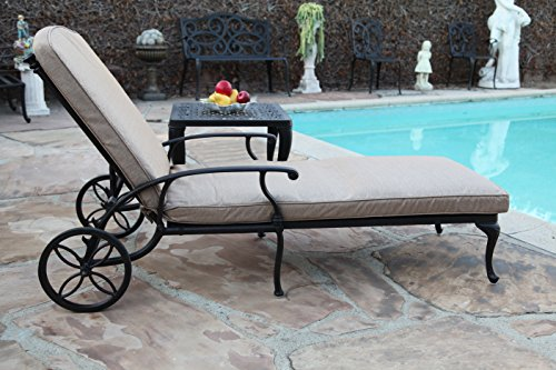 CBM Patio Sienna Collection Cast Aluminum Powder Coated Chaise Lounge with Lite Brown Seat Cushion CBM1290