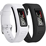 (US) Garmin Vivofit Bands, SKYLET Colorful Silicone Replacement Band for Garmin Vivofit 1 Wristband with Metal Buckle (No Tracker)[2PC: White&Black]