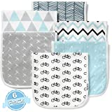 Baby Burp Cloths Set (6 Pack), Super Soft Cotton, Large 21''x10'', Thick, Soft and Absorbent Towels, Burping Rags for Newborns, Baby Shower Gift for Boys and Girls by BaeBae Goods …