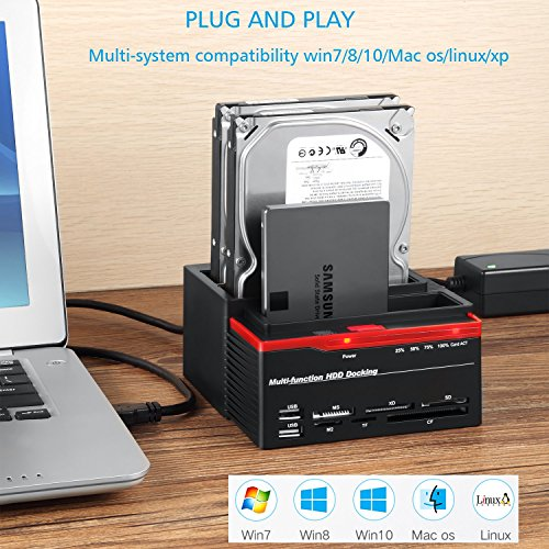 XINGDA Hard Drive Docking Station,USB 3.0 to SATA External HDD Three Bay Bock with 2-Port Hub, Offline Clone Function for 2.5 Inch & 3.5 Inch HDD SSD SATA I/II/II,Card Reader TF/SD/XD/CF/MS/M2 by FUHAOXUAN (Image #1)