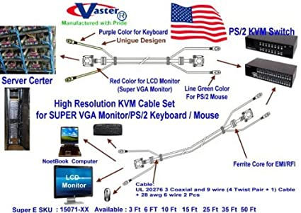 Amazon.com: 3 Ft SVGA Cable, High Resolution KVM Cable Set ... on 6 pin connector diagram, 6 pin to usb converter, 6 pin round trailer plug wiring, 6 pin wire harness diagram, 6 pin power supply plug, 6 round trailer plug diagram, 6 pin trailer diagram,