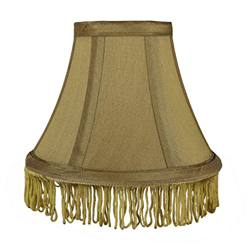 Urbanest Silk Bell Lamp Shade, 5-inch by 9-inch by 7-inch, Gold with Gold Fringe, Spider-Fitter