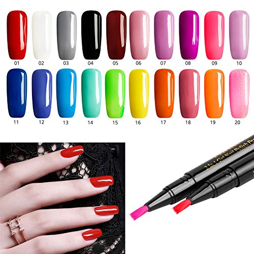 Nail Art Pens, Alonea 20 Colors Gel Nail Polish Nail Art Nail Gel Polish UV LED Gel Polish Nail Polish Pen