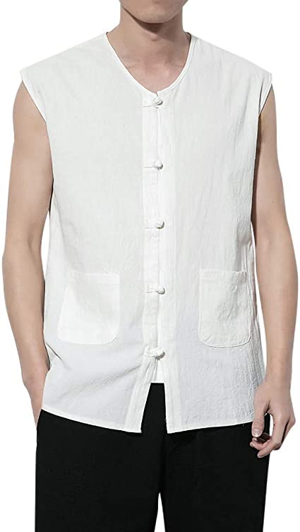 Men Casual Chinese Style Sleeveless Frog Button Linen Tank Top