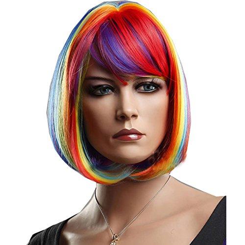 KOLIGHT Colorful Fashion Rainbow BOB Women Cosplay Celebrity