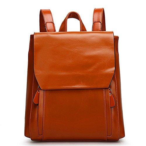- KaiSasi Ms Oil Wax Leather Fashion Students Shoulder Bag Retro Travel Bag Influx Of Women Bags(Khaki)