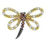 14k Yellow Gold Womens Cognac-brown Color Enhanced Diamond Dragonfly Bug Insect Pendant 1/4 Cttw