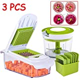 Manual Food Chopper, 860ML Vegetable Meat Choppers Onion Chopper Food Processor, with Blade Storage Box, 3 Piece Set Fruit Cutter And Grater