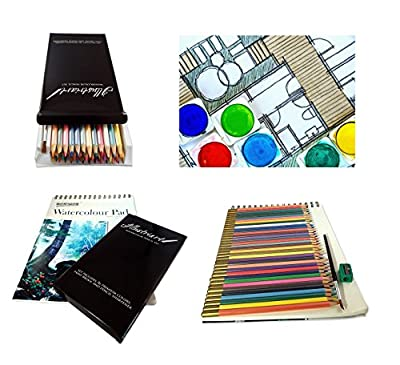 Set of 36 Premium Assorted Water Color Pencils With Paint Brush, Sharpener and Watercolor Paper for Students & Professionals - Drawing Pencils for Adult and Kids