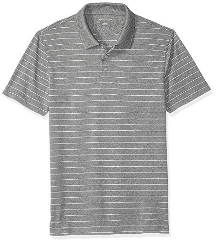 - Amazon Essentials Men's Slim-Fit Quick-Dry Golf Polo Shirt, Medium Gray Heather Stripe, X-Small