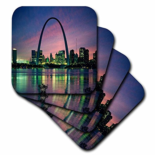(3dRose cst_56145_1 St. Louis Missouri Arch at Nite-Soft Coasters, Set of 4)