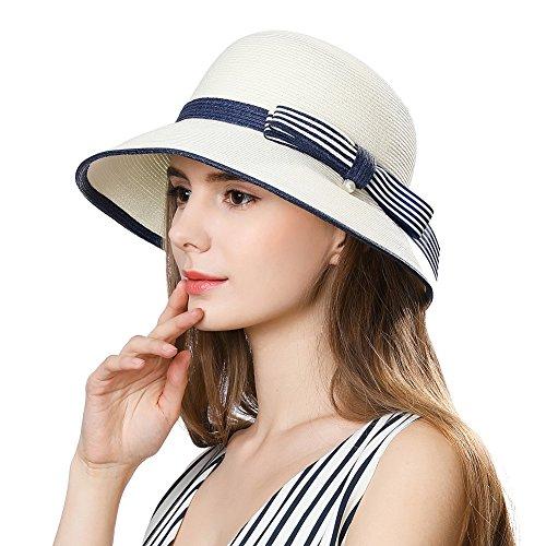 88bd95588 Siggi Womens UPF 50+ Packable Summer Sun Straw Hat Wide Brim Foldable  Adjustable