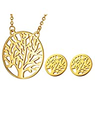 HOUSWEETY Stainless Steel Tree of Life Pendant Necklace and Stud Earrings Jewelry Set