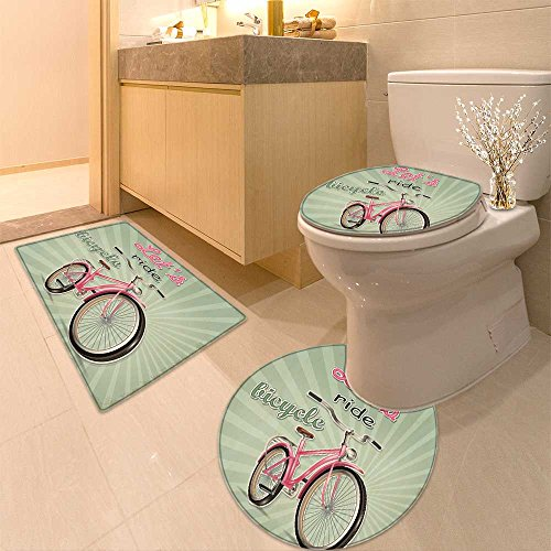 3 Piece Anti-slip mat set Vintage Bicycle Background Non Slip Bathroom Rugs