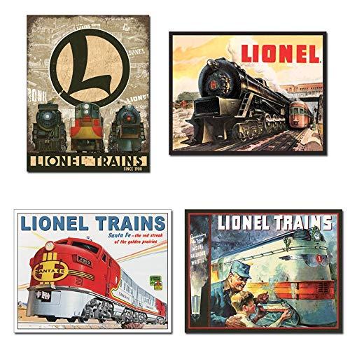 Bundle: Tin Lionel Train Signs - Lionel Legacy, Lionel 5200, Lionel Santa Fe & Lionel 1935 Cover