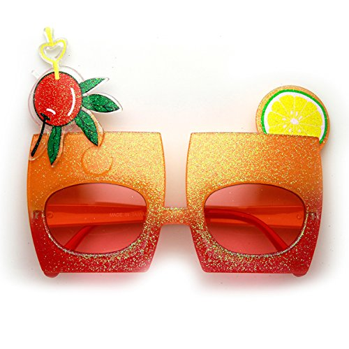 zeroUV - Cherry Cocktail Mix Drink Party Favor Celebration Novelty Sunglasses (Orange-Red - Sunglasses Cocktail Novelty