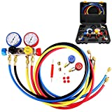 AURELIO TECH MGS-0004-WZ AC Manifold Gauge Set 4 Way Fits R134A R410A and R22 Refrigerants with Hoses Coupler Adapters
