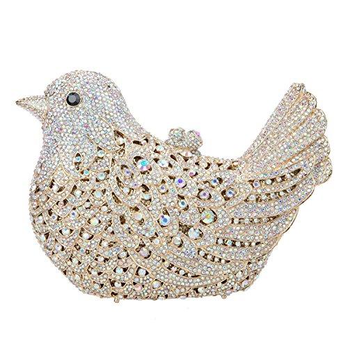 Ab Evening Girls For Rhinestone Bag Bonjanvye Purses Gold Glitter Clutch Bird Blue fUwX1qv