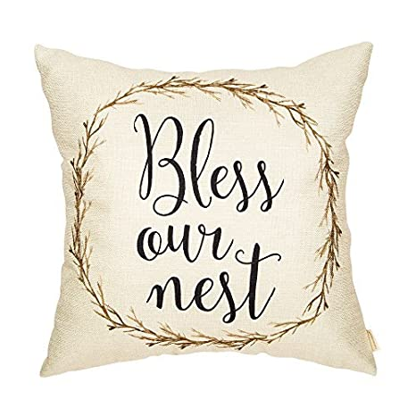 Rustic Farmhouse Vine Wreath Vintage Country Style Retro Farmhouse Quote Gift Cotton Linen Home Decorative Throw Pillow Case Cushion Cover Words Sofa Couch 18 x 18 inch