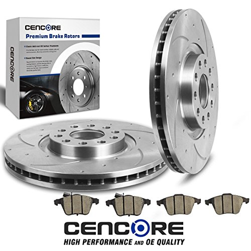 (Front) Combo Brake Kit for Audi A4/Audi A4 Quattro 2005-2009 with 2 Pcs Drilled Slotted Brake Rotors & 4 Pcs Ceramic Pads